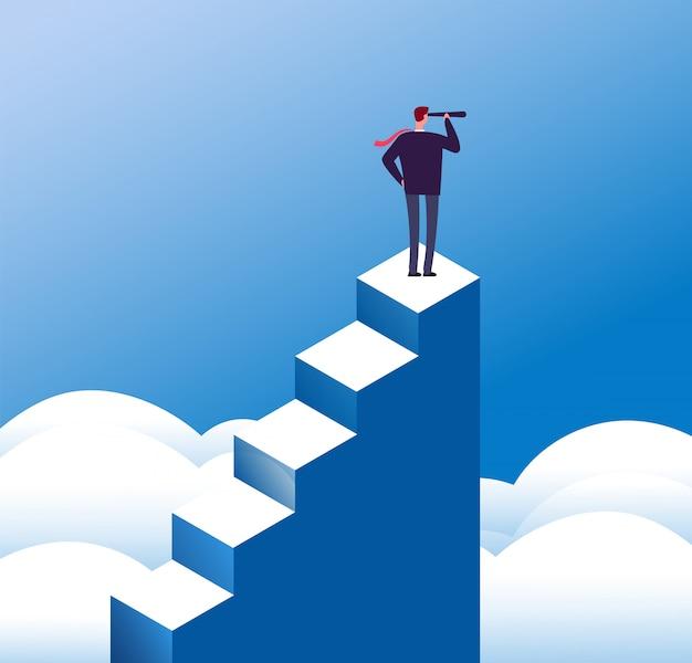 Концепция видения бизнеса. дальновидный человек смотрит в телескоп на вершине ступеньки.