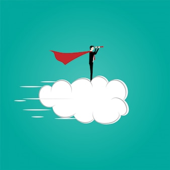 Business vision concept with businessman flying in cloud on the sky