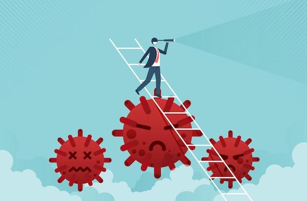 コロナウイルスの上のはしごの上に望遠鏡を保持しているビジネスマンのリーダーとビジネスビジョンの概念