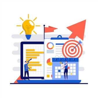キャラクターとビジネスビジョンのコンセプト。会社の使命を検索するビジネスマン。