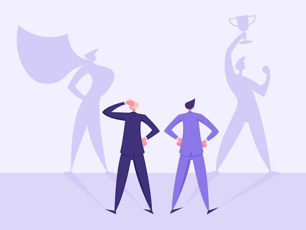勝利の夢のコンセプトイラストのビジネスビジョン