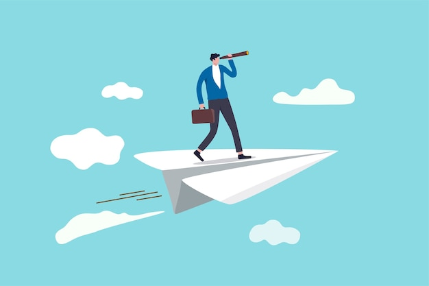 Бизнес-видение, позволяющее увидеть возможность или стратегию, открытие или дальновидное видение, чтобы смотреть вперед в бизнес-концепции