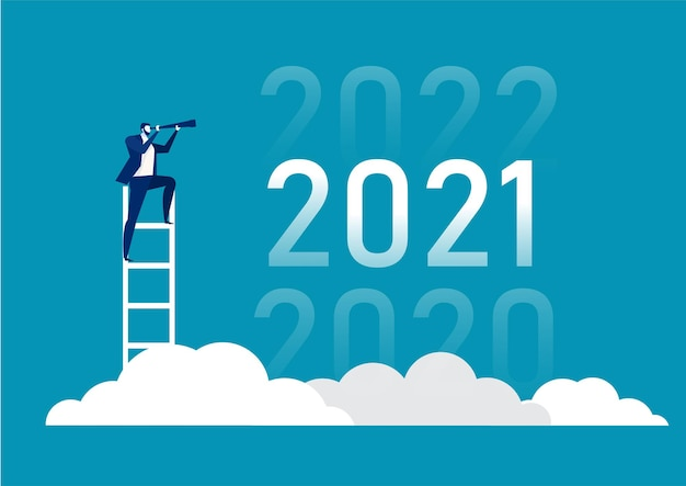Business vision with binoculars for opportunities in spyglass of 2020, 2021, 2022