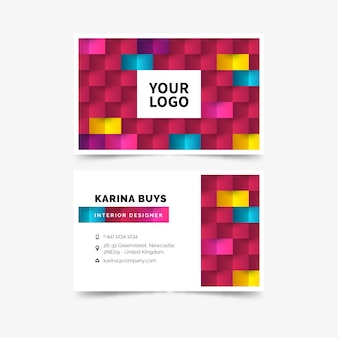 Business visiting card template abstract colorful