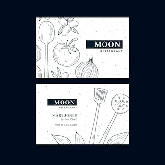 Business visiting card template for moon restaurant