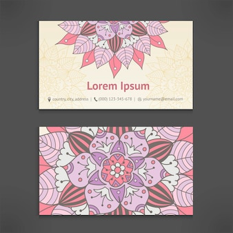Business and visiting card template set with vintage floral mandala