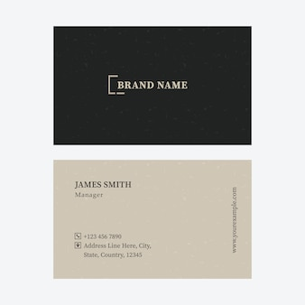 Business or visiting card with double-side in black and beige color.