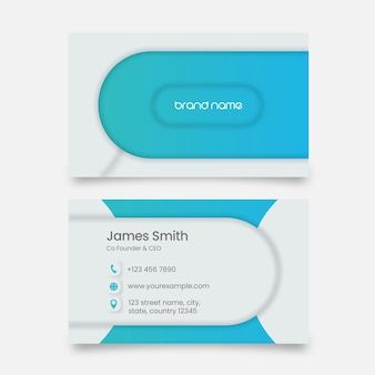 Business or visiting card with double-side in white and blue color.
