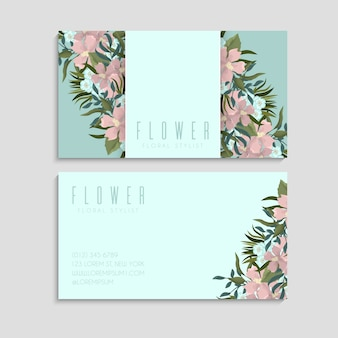 Business and visiting card with floral pattern.