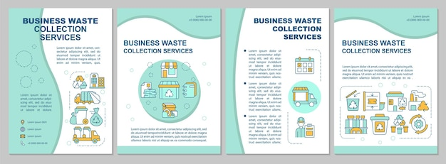 Business waste collection services mint brochure template. flyer, booklet, leaflet print, cover design with linear icons. vector layouts for presentation, annual reports, advertisement pages