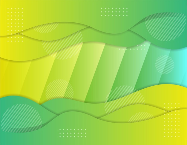 Business wavy papercut abstract background vector illustration for web green yellow gradient