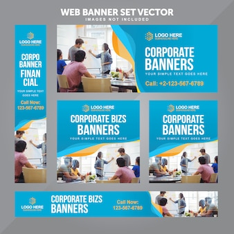 Business web banner set vector background templates