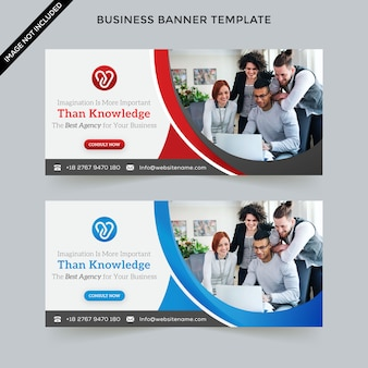 Business web banner template premium vector