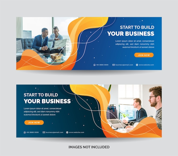 Business web banner template with blue gradient color
