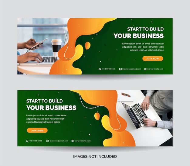 Business web banner template with dark green gradient color