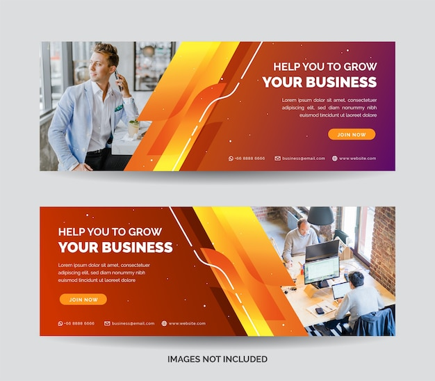Business web banner template with orange gradient color