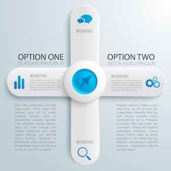 Business web design infographics with text gray banners in cross shape blue circle icons illustration