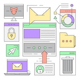 Linear icone di stile minimal web ed elementi di affari sfondi colorati