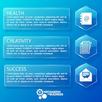 Деловые веб-стеклянные горизонтальные баннеры с текстовыми шестиугольниками и белыми значками на синей иллюстрации