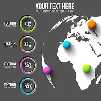 Business web infographics with round buttons percentage and colorful balls on global map