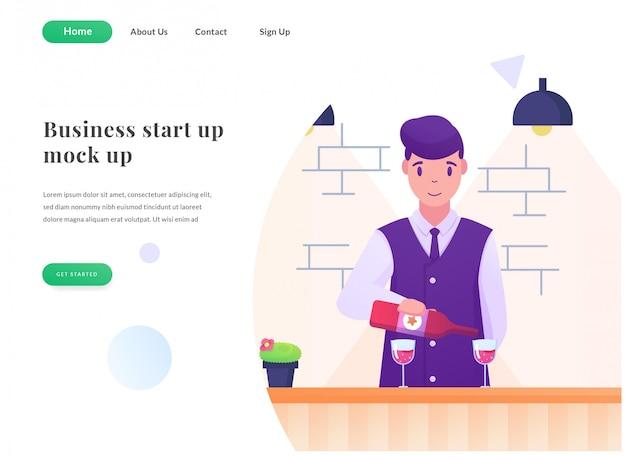 Business web landing page bartender
