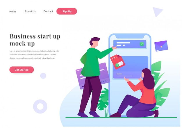 비즈니스 웹 방문 페이지 개발자 모바일