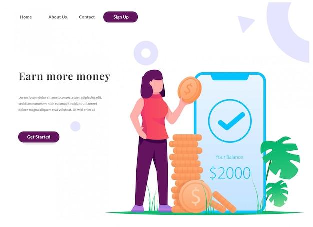 Business web landing page earn money