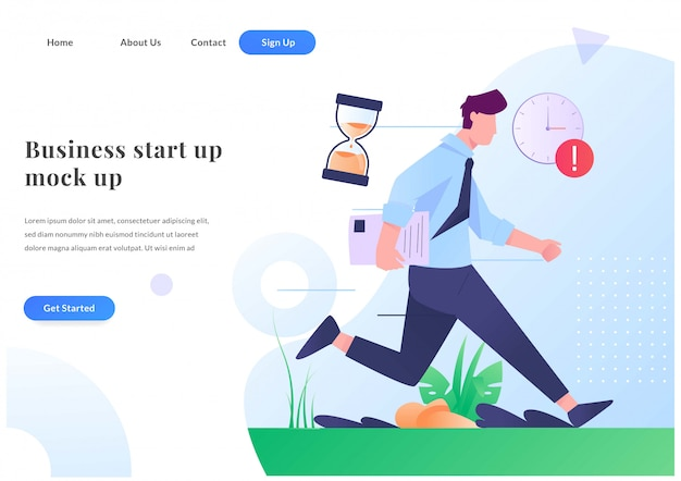 Business web landing page late to work