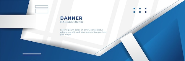 Business webinar horizontal banner design. modern banner design with dark blue and white background color and place for the photo. usable for banner, cover, and header.