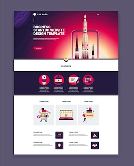 Business website page design template with three launching rockets and features