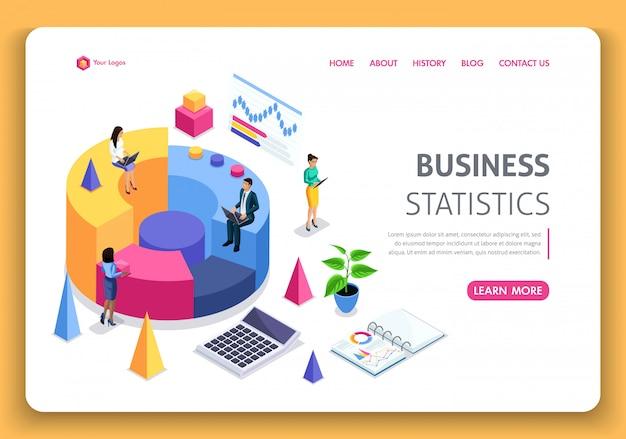 ビジネスウェブサイトテンプレート。等尺性の概念。会社の業績、分析のためのコンサルティング。統計とビジネスステートメント。編集とカスタマイズが簡単