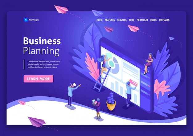 Business website template . isometric concept work on data collection, time management, business planning. easy to edit and customize