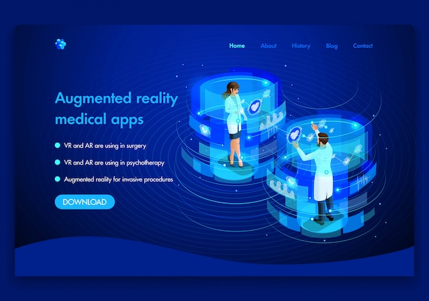 Business website template . isometric medical concept of the work of doctors augmented reality concept. vr and ar are used in surgery. easy to edit and customize