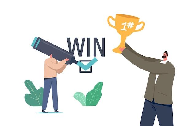 利益のためのビジネスウィンウィンソリューション。幸せなビジネスマンのキャラクターは、手にゴールデンカップ、勝利の契約に署名する男と喜ぶ。成功するパートナーコラボレーション。漫画の人々のベクトル図