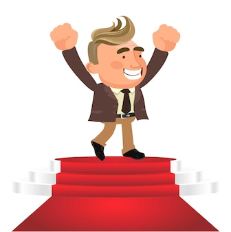 Business winner podium concept vector