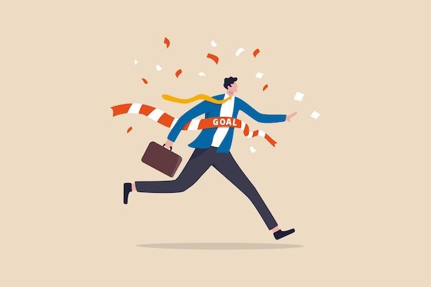 비즈니스 승자 도달 목표, 성공 축하