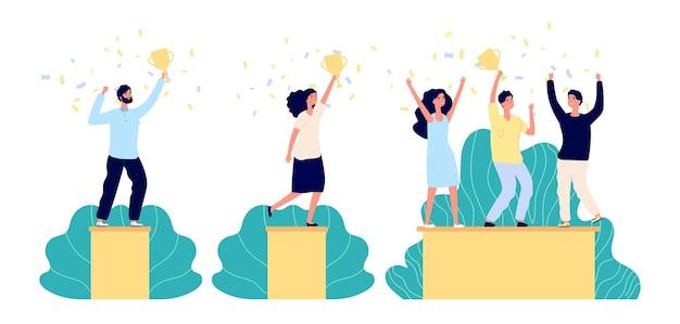 ビジネスの勝者のキャラクター。トロフィーを持っている人、企業チーム、台座にいる人。チームワークの勝利、従業員の成功賞。勝利ベクトルイラストを祝う孤立した女性男ゴールドカップ