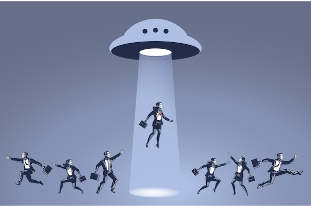 Ufoブルーカラーコンセプトに誘拐されたビジネスウーマン