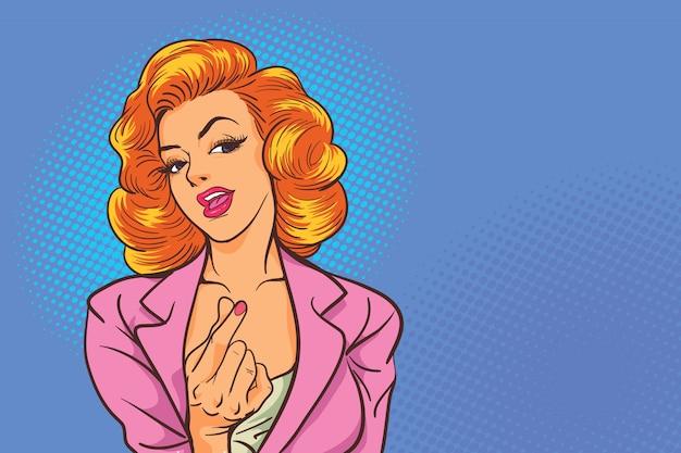비즈니스 여자 액션 섹시 팝 아트 만화 스타일에 미니 하트 표시를 보여줍니다.