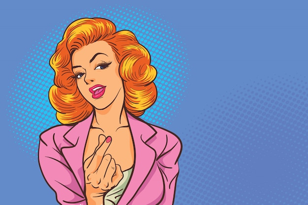 Business woman action sexy  shows mini heart sign in the pop art comics style.