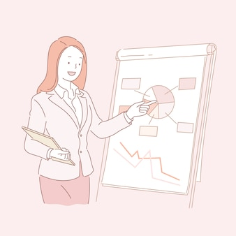 Business woman analyzing pie chart in line style illustration