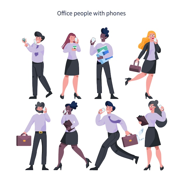 ビジネスの女性と携帯電話のセットを持つ男。スマートフォンを保持しているスーツのキャラクターの女性と男性のコレクション。