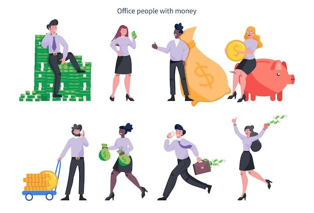 ビジネスの女性とお金を持つ男。お金の山で幸せな成功した人々、紙幣の上に座って、現金でいっぱいのバッグを保持しています。経済的幸福。