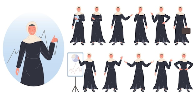 Set di design avatar personaggio arabo donna d'affari