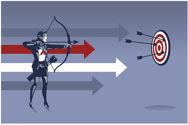 Business woman archer ready to shoot arrow. business illustration concept of business aiming target