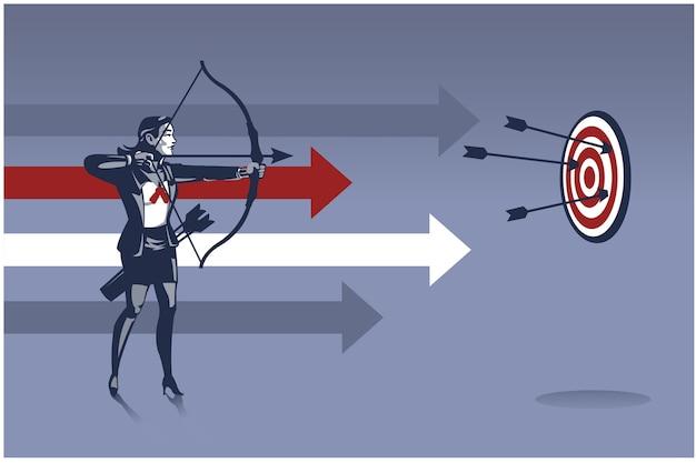 ビジネスウーマンアーチャーは矢を撃つ準備ができています。ビジネスを目指すターゲットのビジネスイラストコンセプト