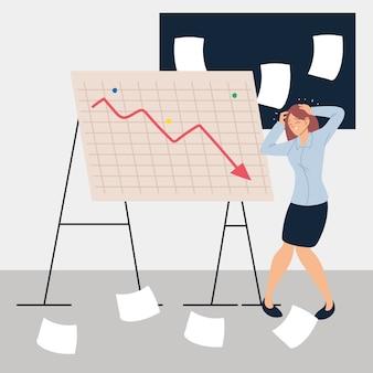 Деловая женщина на презентации дизайна иллюстрации уменьшающейся диаграммы