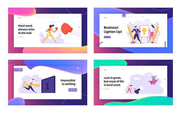 Business woman boxing with big glove concept landing page set