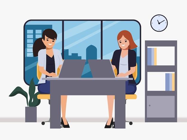 Donna d'affari brainstorming carattere lavoro di squadra coworking spazio ufficio interno