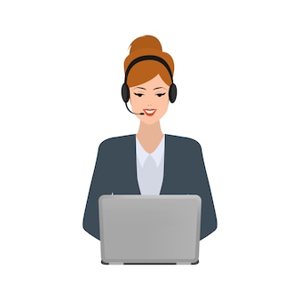 Business woman in call center
